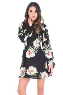Black-Floral-Mini-dress-with-Frill-Trim-1-850x1218