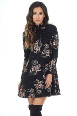 Black-High-Neck-Long-Sleeve-Floral-Dress-2-850x1218
