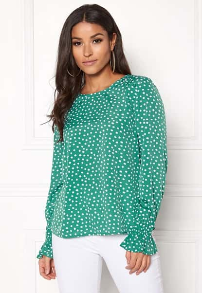 bubbleroom-elma-blouse-green-white-dotted