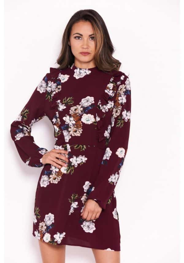 Plum-Floral-Dress-With-Frill-Detail-1-850×1218