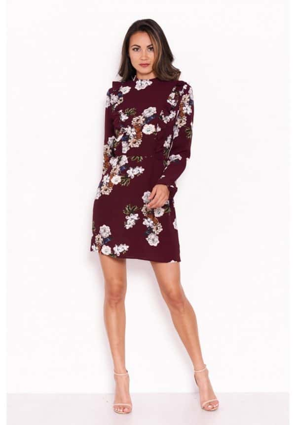 Plum-Floral-Dress-With-Frill-Detail-2-850×1218