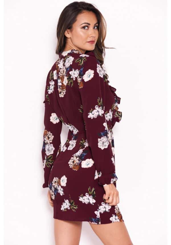 Plum-Floral-Dress-With-Frill-Detail-3-850×1218