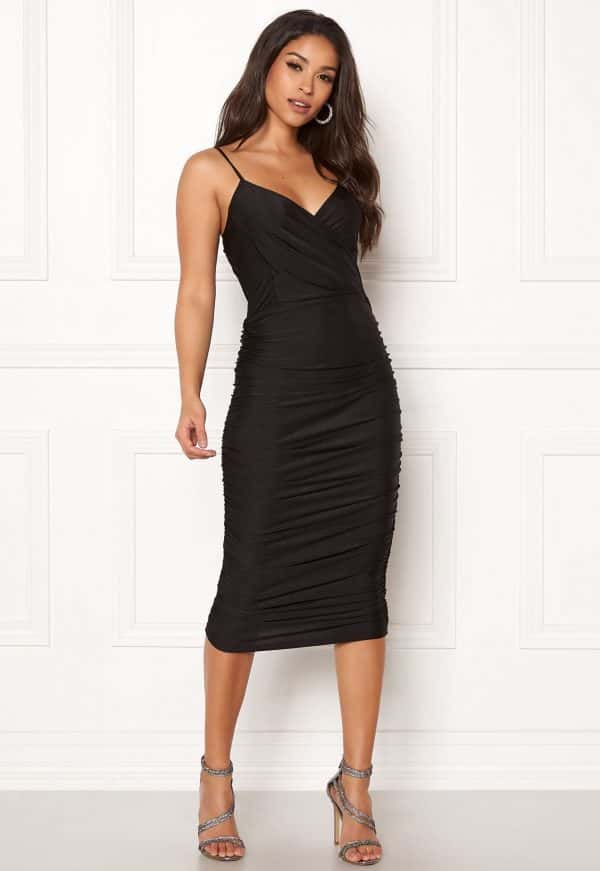 ax-paris-rouched-midi-dress-black